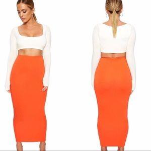 Naked Wardrobe   Orange Midi Skirt